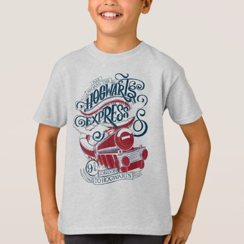 Harry Potter  Hogwarts Express Typography T_Shirt