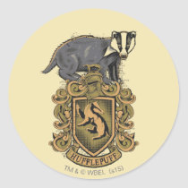 Harry Potter   Hufflepuff Crest with Badger Classic Round Sticker