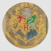 Harry Potter   Rustic Hogwarts Crest Classic Round Sticker