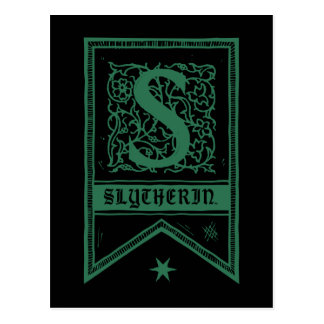 Harry Potter | Slytherin Monogram Banner Postcard