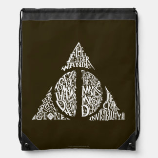 Harry Potter Spell | DEATHLY HALLOWS Typography Gr Drawstring Backpack