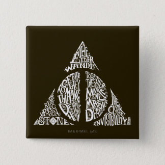 Harry Potter Spell | DEATHLY HALLOWS Typography Gr Pinback Button