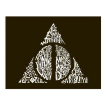 Harry Potter Spell   DEATHLY HALLOWS Typography Gr Postcard