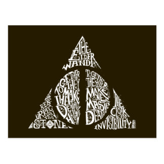 Harry Potter Spell | DEATHLY HALLOWS Typography Gr Postcard