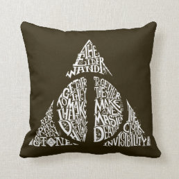 Harry Potter Spell | DEATHLY HALLOWS Typography Gr Throw Pillow