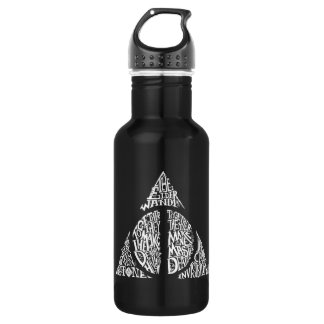 Harry Potter Spell | DEATHLY HALLOWS Typography Gr Water Bottle