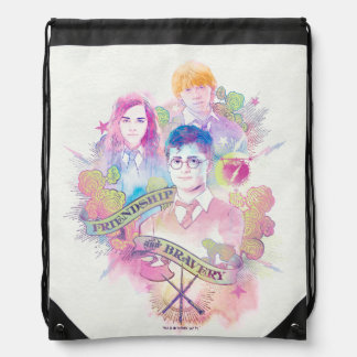 Harry Potter Spell | Harry, Hermione, & Ron Waterc Drawstring Backpack