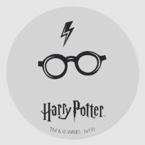 Harry Potter Spell   Lightning Scar and Glasses Classic Round Sticker
