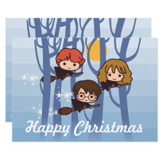 Harry, Ron, & Hermione Flying In Woods Christmas Card