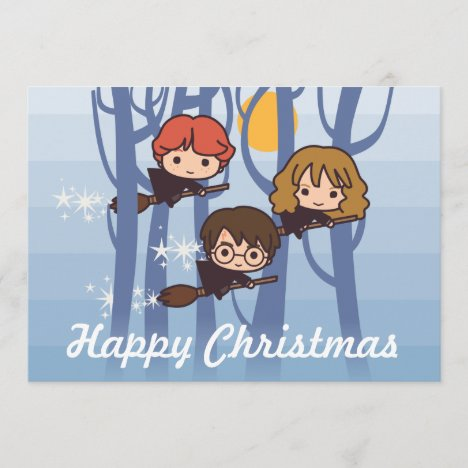 Harry, Ron, & Hermione Flying In Woods Christmas