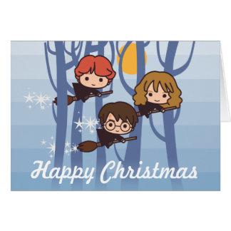 Harry, Ron, y vuelo de Hermione en navidad de Tarjeta De Felicitación