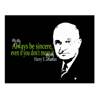 harry s truman always be sincere post cards