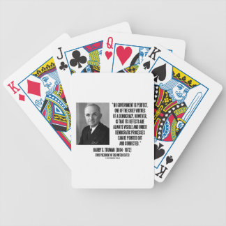 Harry S. Truman No Gov't Is Perfect Democracy Bicycle Playing Cards