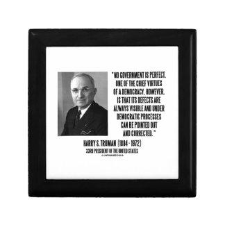 Harry S. Truman No Gov't Is Perfect Democracy Keepsake Box