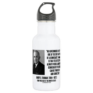 Harry S. Truman No Gov't Is Perfect Democracy Stainless Steel Water Bottle