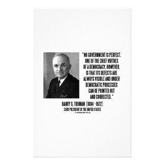 Harry S. Truman No Gov't Is Perfect Democracy Stationery