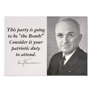 Harry Truman 5x7 Paper Invitation Card