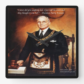 "Harry Truman And ""Give 'Em Hell"" Quote Wall Clock"