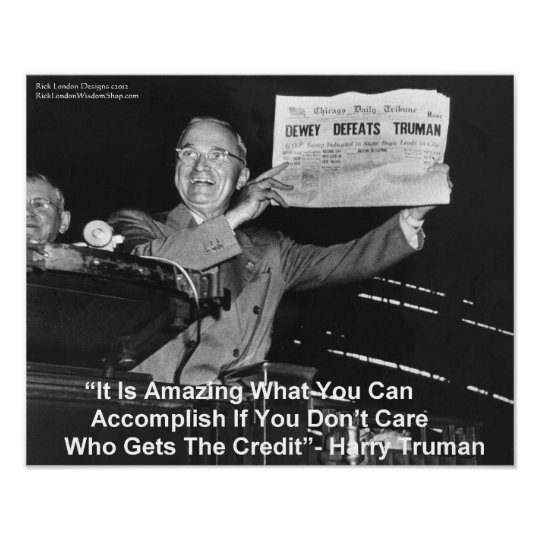 "Harry Truman Holding Newspaper ""Dewey Loves Truman Poster"