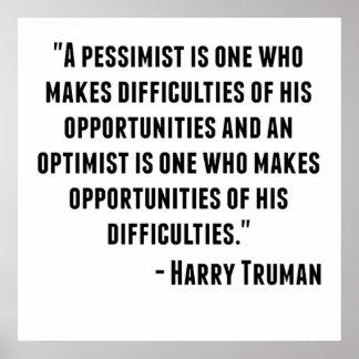 Harry Truman Quote Poster