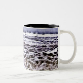 Harsh Waves Along Seashore Two-Tone Coffee Mug