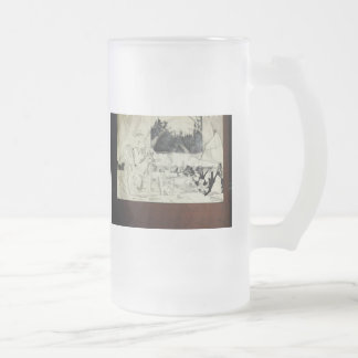 Hart art drawings old and new 101 frosted glass beer mug