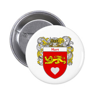 Hart Coat of Arms/Family Crest (Mantled) Pinback Button