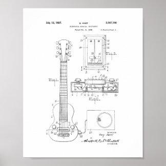 Hart Electric Guitar Pickup Patent Poster