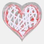 Hart in Rood, Wit en Grijs Pegatina En Forma De Corazón