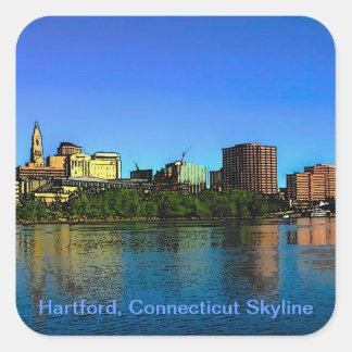 Hartford Connecticut Skyline Cartoon Sticker