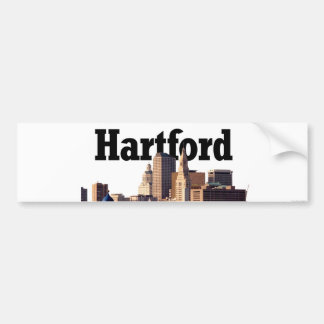 "Hartford CT Skyline with ""Hartford"" in the sky Bumper Sticker"