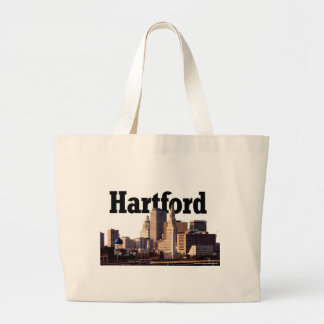 """Hartford CT Skyline with """"Hartford"""" in the sky Large Tote Bag"""