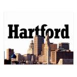 "Hartford CT Skyline with ""Hartford"" in the sky Postcard"