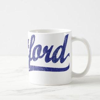 Hartford script logo in blue distressed coffee mug