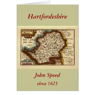 """Hartfordeshire"" Hertfordshire County Map Greeting Card"