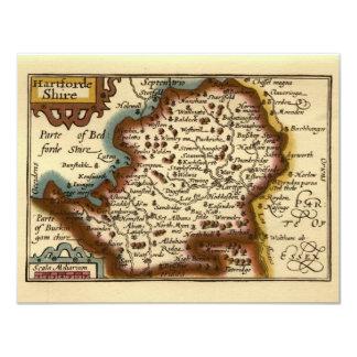 """Hartfordeshire"" Hertfordshire County Map 4.25x5.5 Paper Invitation Card"
