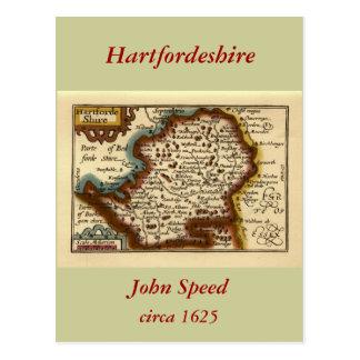 """Hartfordeshire"" Hertfordshire County Map Postcard"