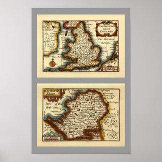 """Hartfordeshire"" Hertfordshire County Map Print"