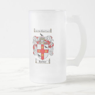 HARTLEY FAMILY CREST -  HARTLEY COAT OF ARMS FROSTED GLASS BEER MUG