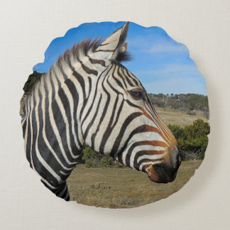 Hartmann's Zebra Profile at Fossil Rim Round Pillow