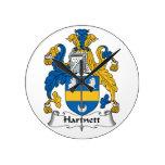 Hartnett Family Crest Round Wall Clocks