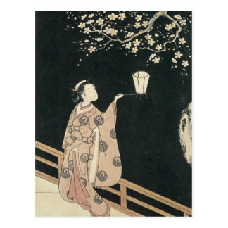 Harunobu, Plum-Blossom Viewing at Night Postcard