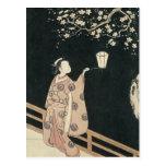 Harunobu, visión del Ciruelo-Flor en la noche Postal