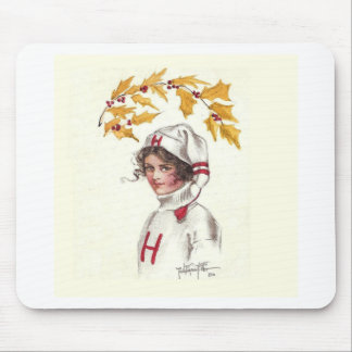 Harvard Coed in Winter with Holly Branch Mouse Pad
