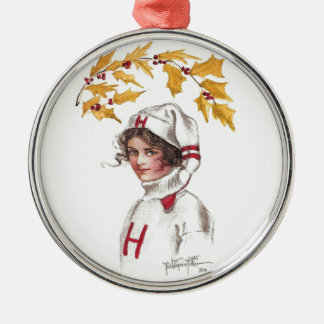 Harvard Coed in Winter with Holly Branch Round Metal Christmas Ornament