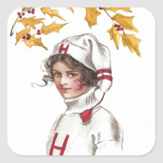 Harvard Coed in Winter with Holly Branch Square Sticker