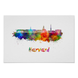 Harvard skyline in watercolor poster