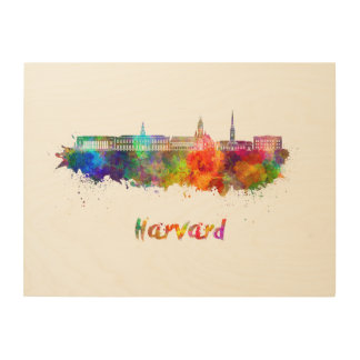 Harvard skyline in watercolor wood print