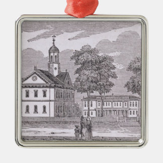 Harvard University, from 'Historical Square Metal Christmas Ornament