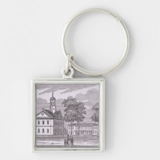 Harvard University, from 'Historical Silver-Colored Square Keychain
